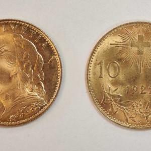 Kultakolikko 10 franc Sveitsi franc